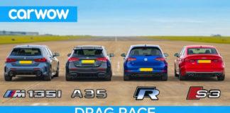 Автомобили BMW M135i, Audi S3, Mercedes-AMG A 35 и VW Golf R