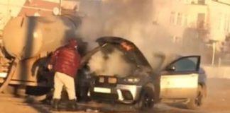 пожар автомобиля с фекалиями